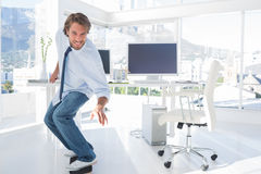 Employee skating in the office Royalty Free Stock Photo