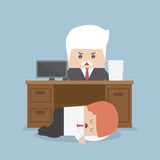 Employee sleeping under his desk and angry boss Royalty Free Stock Image