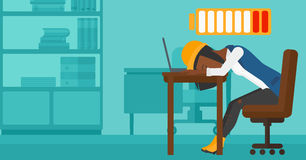 Employee sleeping at workplace. Royalty Free Stock Image