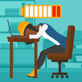 Employee sleeping at workplace. Royalty Free Stock Photo
