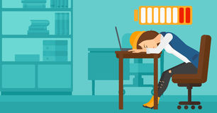 Employee sleeping at workplace. Stock Images