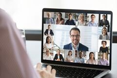Free Employee Talk On Webcam Conference With Diverse Colleagues Royalty Free Stock Photos - 177519828