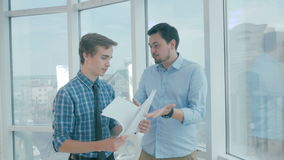 Employee tired of mad director throws paper in to boss ready and happy for quit, dismissal. stock footage