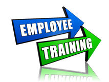 Employee training in arrows. Employee training - text in 3d arrows, business professional education concept words Royalty Free Stock Photos