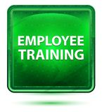 Employee Training Neon Light Green Square Button stock illustration