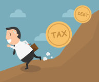 The employee tries to run away from tax and debt. Illustration Stock Photos