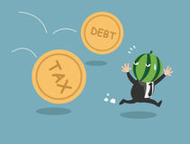 The employee tries to run away from tax and debt Royalty Free Stock Photo