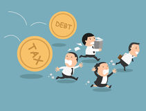 The employee tries to run away from tax and debt. Illustration Stock Photo