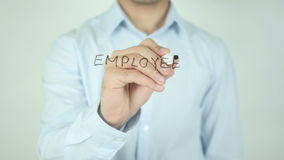 Employee Turnover, Writing On Transparent Screen. Man writing stock footage