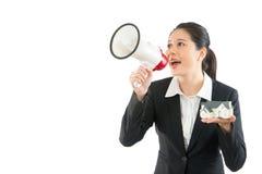Employee using megaphone publicize news Royalty Free Stock Photography