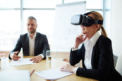 Employee in vr headset Royalty Free Stock Image