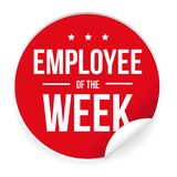 Employee of the Week label sticker. Red Royalty Free Stock Photos