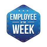 Employee of the Week vector badge. Blue Royalty Free Stock Photos
