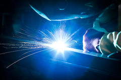 Employee welding steel Stock Photography