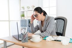 Employee woman insist on working in office. Stock Photo