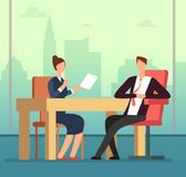Employee woman and interviewer boss meeting at desk. Job interview and recruitment vector cartoon concept. Illustration of manager employment hiring candidate Royalty Free Stock Photography