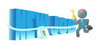 Employee Worker Unlocking New Found Job. A talent professional unlocking his new job Royalty Free Stock Photos