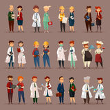 Employee and workers for medical professions. Man and woman workers for many professions. Doctor psychologist and nurse, builder and engineers, accountant and Stock Photography
