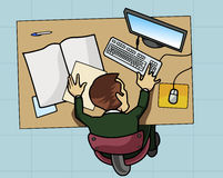 Employee working at his computer. Cartoon-style illustration: an employee is working at his table with computer and papers. View from above Stock Photo
