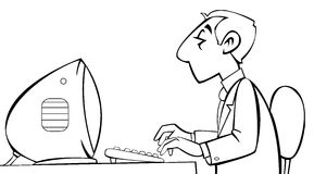 Employee working at his computer. Black and white illustration of an employee working at his computer stock illustration
