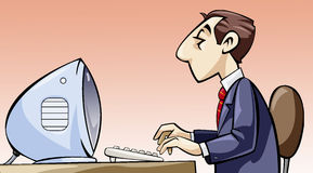 Employee working at his computer. Illustration of an employee working at his computer stock illustration
