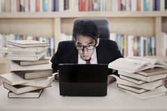 Employee works in library Stock Photography
