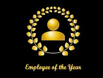 Employee of the year golden design. Employee of the year award. Golden icon on black background Stock Image