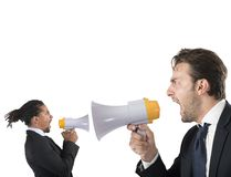 Employee yelling against boss Royalty Free Stock Image