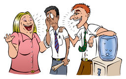 Employees. Cartoon illustration of a employees gossiping at a watercooler Royalty Free Stock Photos