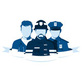 Employees of the ambulance, police and fire department. Emblem of rescue team. Silhouettes of people of emergency service. Employees of the ambulance, police and Stock Photo
