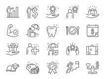 Free Employees Benefits Line Icon Set. Included Icons As Teamwork, People Relationship, Growth Chart, Staff Perks, Insurance And More. Stock Photos - 157757293