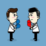 Employees compete , Business man boxing fighting vector cartoon Stock Photography
