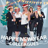 Employees congratulate colleagues with New Year Royalty Free Stock Photography