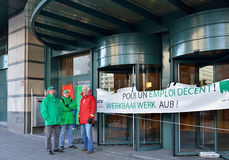 Employees demonstrate against austerity in Brussels Stock Images