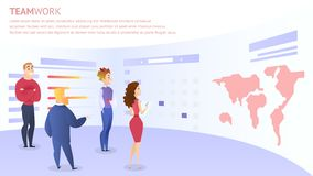 Employees Discuss Idea For Web Project Development. Near Huge Screen With World Map. Teamwork Inscription, Horizontal Rectangle Banner, Copy Space. Office Life stock illustration