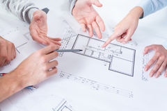 Employees discussing project Stock Photo
