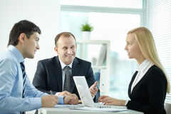 Employees at discussion royalty free stock images