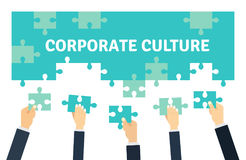 Employees holding and connecting puzzle pieces together. Corporate Culture and Teamwork Vector illustration n flat style. vector illustration