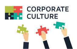 Employees holding and connecting puzzle pieces together. Teamwork and Corporate Culture vector concept in flat style. Business partners holding and connecting Stock Photo