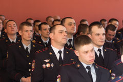 Employees of of internal troops in the audience during the celeb Stock Photos