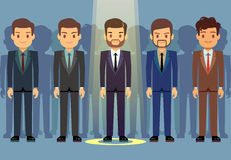 Employees job candidate selection, business recruitment vector concept. Select candidate to work, illustration candidate in ray of light Royalty Free Stock Photography