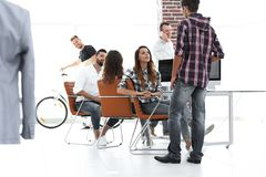 Employees of modeling agencies on the workplace. In the office Stock Photos