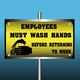 Employees must wash hands. Colorful sign with washing hands and the text employees must wash hands before returning to work written with large letters Stock Photography