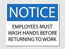 Employees must wash hands sign on a grey background. Employees must wash hands sign illustration royalty free illustration