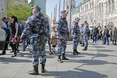 Employees of National Guard of the Russian Federation. MOSCOW, RUSSIA - MAY 01, 2019: Employees of National Guard of the Russian Federation Rosgvardia on duty to royalty free stock image