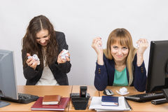 Employees of the office furious crumple paper Stock Photo