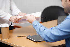 Employees at office with papers royalty free stock photos