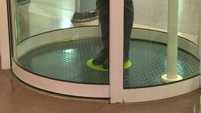 Employees pass through the entrance of the secret enterprise. The security system at the entrance stock video
