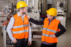 Employees at production area Royalty Free Stock Photos