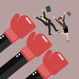 Employees punched by boss big hands. Vector illustration Stock Image